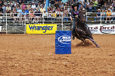American Rodeo Female Barrel Racer White Star Horse I Poster by Sally Rockefeller