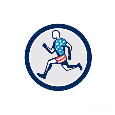 American Sprinter Runner Running Side View Retro Poster by Aloysius Patrimonio