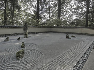 American Zen Rock And Raked Gravel Garden - Portland Oregon Poster by Daniel Hagerman