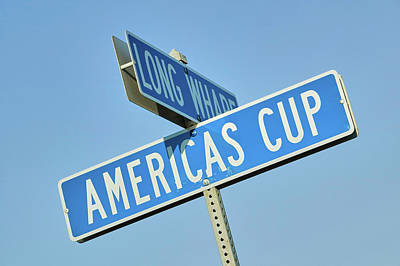 Americas Cup Street Sign In Newport Poster