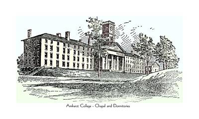 Amherst College - Chapel And Dormitories Poster