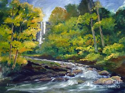 Amicalola Falls Painting Poster by Sally Simon