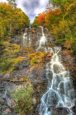 Amicolola Falls Amazing Color Of Fall  Poster by Gerald Adams