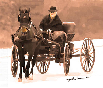 Poster featuring the digital art Amish Carriage by Bob Salo