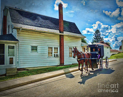 Amish Country Ride Poster by Joan  Minchak