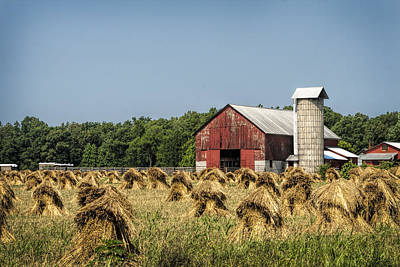 Amish Country Wheat Stacks And Barn Poster by Kathy Clark