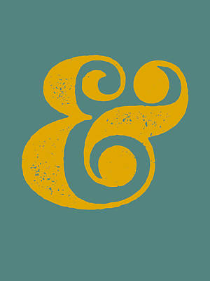 Ampersand Poster Blue And Yellow Poster by Naxart Studio