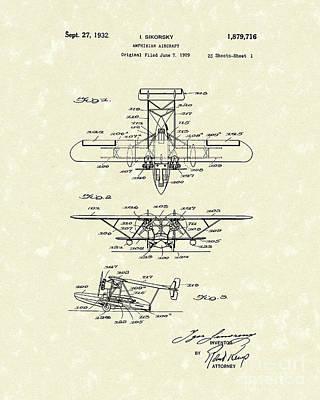 Amphibian Aircraft 1932 Patent Art Poster by Prior Art Design
