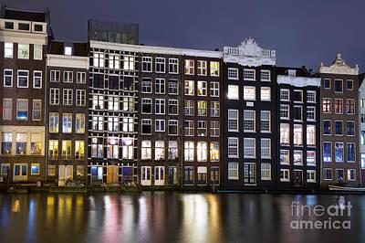 Amsterdam At Night Poster by Jane Rix