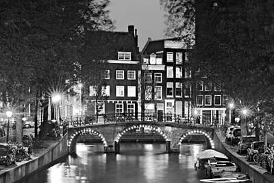 Poster featuring the photograph Amsterdam Bridge At Night / Amsterdam by Barry O Carroll