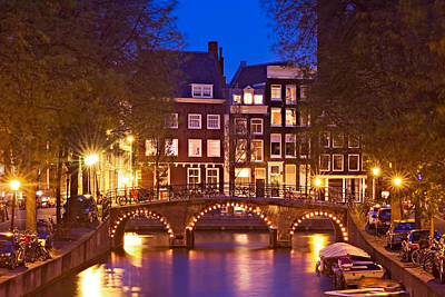 Poster featuring the photograph Amsterdam Bridge At Night by Barry O Carroll