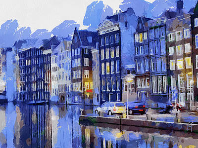 Amsterdam With Blue Colors Poster by Georgi Dimitrov
