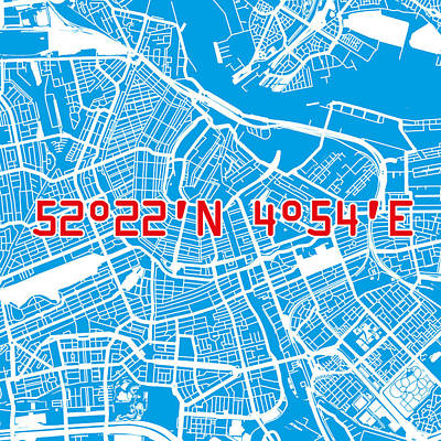 Amsterdam Map Blue Poster by Big City Artwork