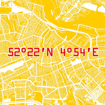 Amsterdam Map Yellow Poster