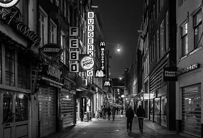 Amsterdam Street At Night Poster by Buster Brown