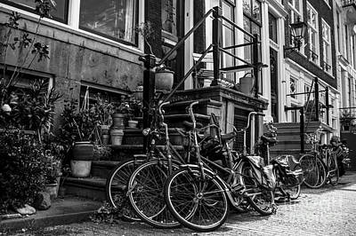 Amsterdam Street Scene In Black And White Poster