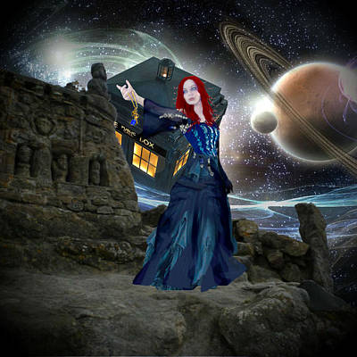 Poster featuring the painting Amy And The Tardis by Digital Art Cafe