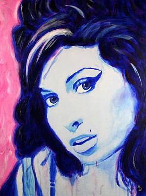 Poster featuring the painting Amy Winehouse Pop Art Painting by Bob Baker