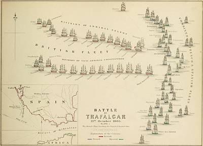 An 1848 Plan Of The Fleet Positions At The Battle Of Trafalgar Poster