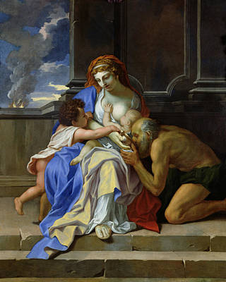 An Allegory Of Charity, C.1642-48 Oil On Canvas Poster by Charles Le Brun