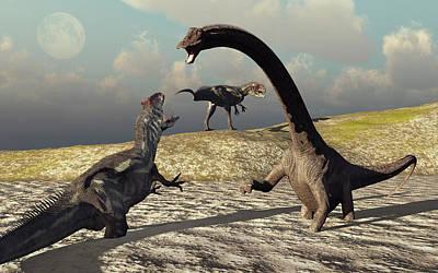 An Allosaurus And Diplodocus Dinosaur Poster by Mark Stevenson