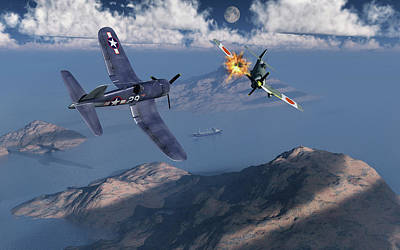 An American F4u Corsair Attacking Poster by Mark Stevenson