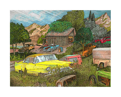 Wrecking Yard 1956 Caddy In An American Field Of Dreams Poster by Jack Pumphrey