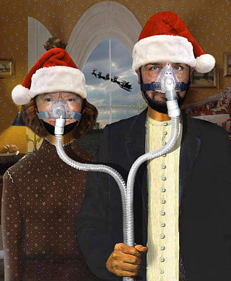 An American Gothic Sleep Apnea Merry Christmas Poster by Mike McGlothlen