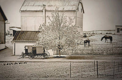 An Amish Farm In Sepia Poster