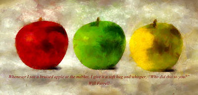 An Apple A Day With Will Ferrell Poster by Angelina Vick