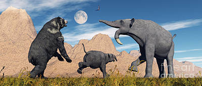 An Arctodus Bear Chasing A Young Poster by Mark Stevenson