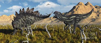 An Armor Plated Stegosaurus Defending Poster