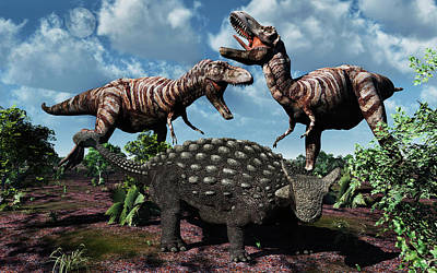 An Armored Ankylosaurus Protecting Poster by Mark Stevenson
