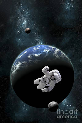 An Astronaut Floating In Front Poster by Marc Ward