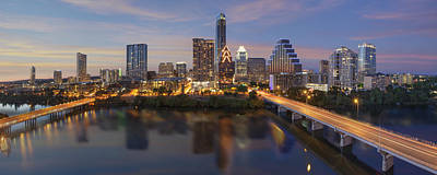 A Panorama Of The Austin Skyline Over Lady Bird Lake Poster by Rob Greebon