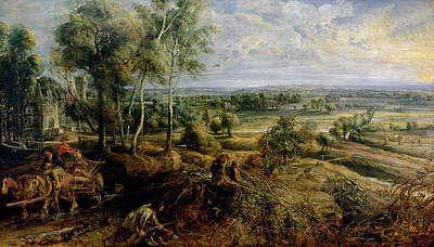 An Autumn Landscape With A View Of Het Steen In The Early Morning, C.1636 Oil On Panel Poster by Peter Paul Rubens