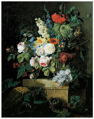 An Elaborate Still Life Of Flowers Poster by Pierre-Joseph Redoute