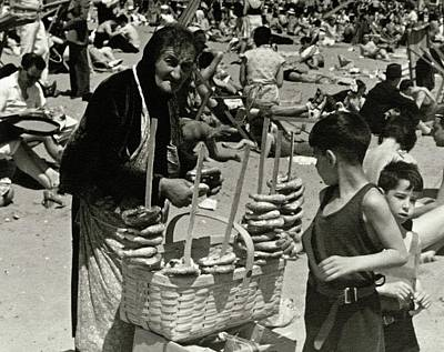An Elderly Woman Selling Food On The Beach Poster