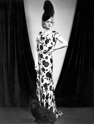 An Elegant Woman Poses With Her Dog. Poster