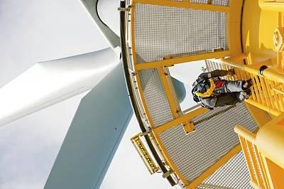 An Engineer Climbs A Transition Piece Poster