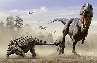 An Euoplocephalus Hits T-rexs Foot Poster by Mohamad Haghani