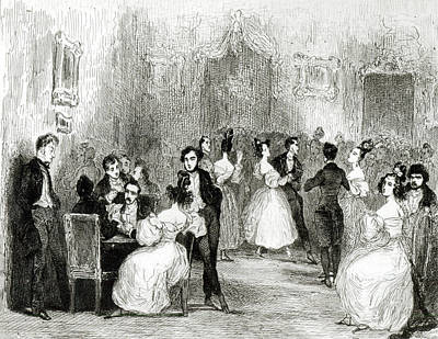An Evening At The House Of Charles Nodier 1780-1844 1831 Wc On Paper Bw Photo Poster by Tony Johannot
