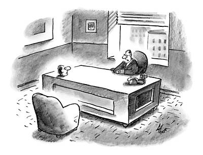 An Executive Sits At His Desk And An Employee's Poster