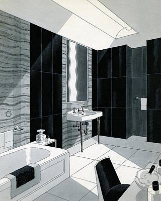 An Illustration Of A Bathroom Poster by Urban Weis