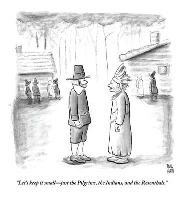 An Indian Chief Speaks To A Pilgrim Poster by Paul Noth