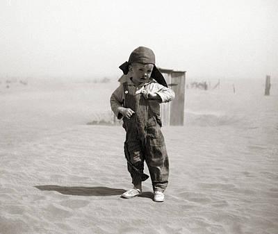 An Oklahoman Boy During A Dust Storm Poster