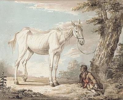 An Old Grey Horse Tethered To A Tree A Boy Resting Nearby Poster by Paul Sandby