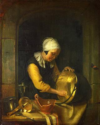 An Old Woman Scouring A Pot Poster by Godfried Schalcken