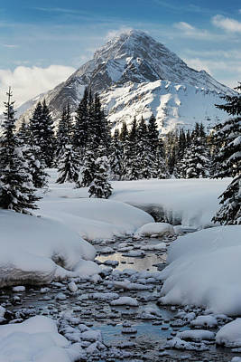 An Open Creek With Snow Covered Curvy Poster