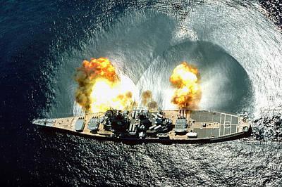 An Overhead View Of The Battleship Uss Iowa Bb61 Firing All 15 Of Its Guns Poster